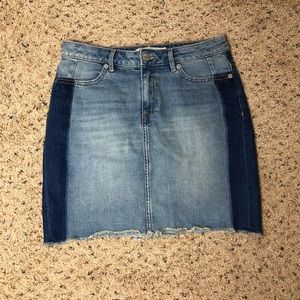 H&M Denim Two Tone Cut Off Skirt